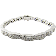 14K White Gold 6ct Diamond Link Bracelet 6 3/4""