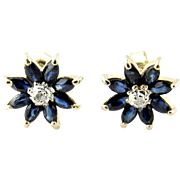 Vintage 14 Karat Yellow Gold Sapphire and Diamond Floral Earrings