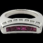 Vintage 18 Karat White Gold Ruby and Diamond Ring Size 6.75