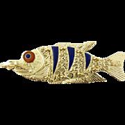 Vintage 18 Karat Yellow Gold Articulated Fish Pendant