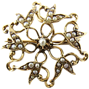 Vintage 14K Yellow Gold Pin with Seed Pearls