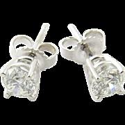 Vintage 18 Karat White Gold Diamond Stud Earrings .55 ct.