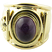Vintage 18 Karat Yellow Gold Amethyst Cigar Band Ring Size 6