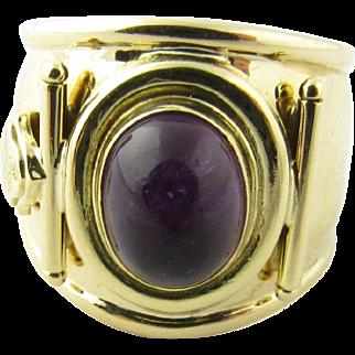 Vintage 18 Karat Yellow Gold Amethyst Cigar Band Ring Size 6