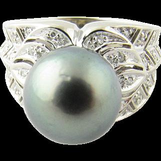 Vintage 14 Karat White Gold Black Pearl and Diamond Ring Size 7