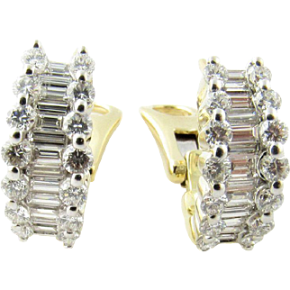 Vintage 18 Karat Yellow Gold Diamond Earrings 1.56 cts.