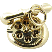 Vintage 14 Karat Yellow Gold Mechanical Rotary Telephone Charm
