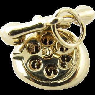 Vintage 14 Karat Yellow Gold Mechanical Rotary Telephone Charm