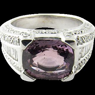 Vintage 18 Karat White Gold Amethyst and Diamond Ring Size 6.75