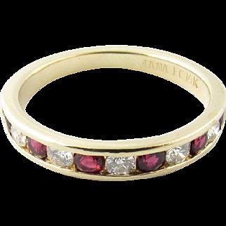 Vintage 14 Karat Yellow Gold Ruby and Diamond Wedding Band Size 8