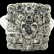 Vintage 14 Karat White Gold Diamond Ring Size 5.75 -8 Adjustable Shank