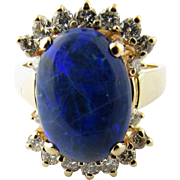 Vintage 14 Karat Yellow Gold Australian Blue Opal and Diamond Ring Size 6.75