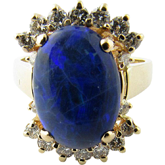 Vintage 14 Karat Yellow Gold Australian Blue Opal and Diamond Ring Size 6.75
