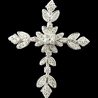 Vintage 18 Karat White Gold Diamond Cross Pendant