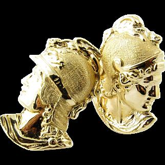 Vintage 14 Karat Yellow Gold Greek God Cufflinks