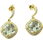 Vintage 18 Karat Yellow Gold Aquamarine and Diamond Earrings
