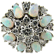 Vintage 14 Karat White Gold Opal and Diamond Ring Size 6.5