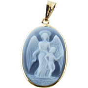 Vintage 14 Karat Yellow Gold Guardian Angel Cameo Pendant