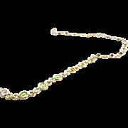 Vintage 14 Karat Yellow Gold Multi-Colored Gemstone Necklace