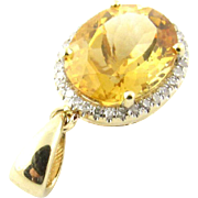 Vintage 14 Karat Yellow Gold Topaz and Diamond Pendant