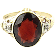 Vintage 10 Karat Yellow Gold Garnet RIng Size 6
