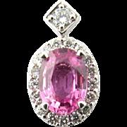 Vintage 14 Karat White Gold Pink Gemstone and Diamond Pendant