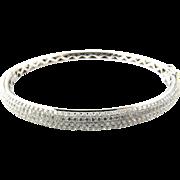 Vintage 18 Karat White Gold Pave Diamond Bangle Bracelet