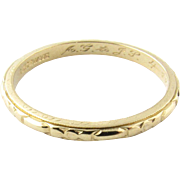 Vintage 1940's 14K Yellow Gold Wedding Band, Ring size 7 1/2