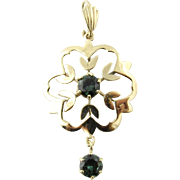 Vintage 10K Yellow Gold Pendant with Synthetic Alexandrite Stones