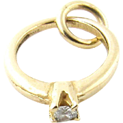 Vintage 14K Yellow Gold Petite Diamond Engagement Ring Charm