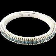 Vintage 18 Karat White Gold Blue Diamond Stackable Wedding Band Size 7