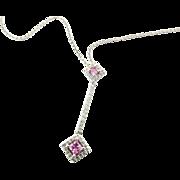 Vintage 14 Karat White Gold Pink Topaz and Diamond Pendant Necklace