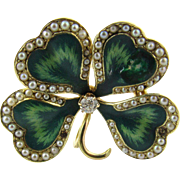 Vintage 14 Karat Yellow Gold Enamel and Seed Pearl Shamrock Pendant/Brooch