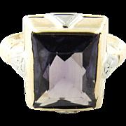Vintage 10 Karat Yellow Gold Amethyst Ring Size 5.25