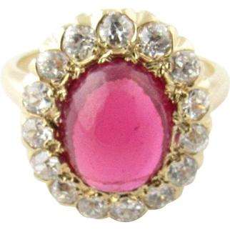 Vintage 14 Karat Yellow Gold Synthetic Ruby and Diamond Ring Size 4.5