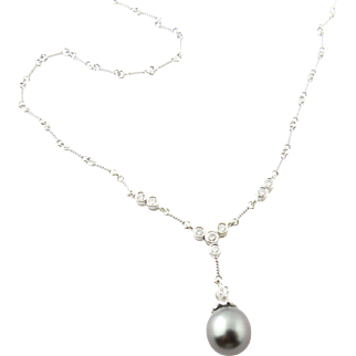 Vintage 18 Karat White Gold Grey Pearl and Diamond Necklace