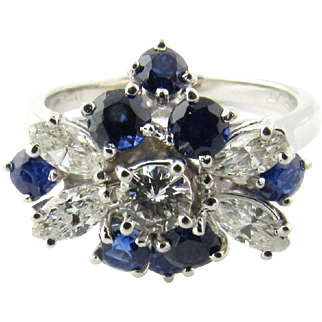 Vintage Platinum Sapphire and Diamond Ring Size 6