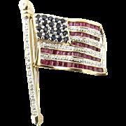Vintage 14 Karat Yellow Gold Ruby Diamond and Sapphire American Flag Brooch