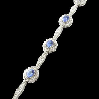 Vintage 14 Karat White Gold Tanzanite and Diamond Bracelet