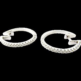 Vintage 14 Karat White Gold Diamond Hoop Earrings