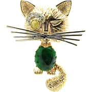Vintage 14 Karat Yellow Gold Jade and Diamond Cat Brooch