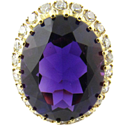 Vintage 18 Karat Yellow Gold Amethyst and Diamond Ring Size 3.25
