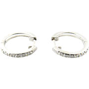 Vintage 14 Karat White Gold Diamond Hoop Earrings