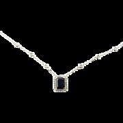 Vintage 14 Karat White Gold Sapphire and Diamond Necklace