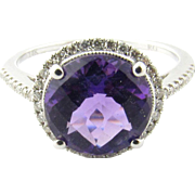 Vintage 14 Karat White Gold Amethyst and Diamond Ring Size 6