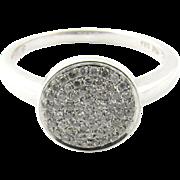 Vintage 14 Karat White Gold Pave Diamond Ring Size 7