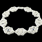 Vintage 10 Karat White Gold Diamond and Sapphire Bracelet