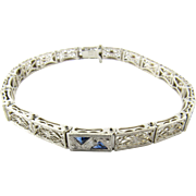 Vintage 14 Karat White Gold and Platinum Diamond and Sapphire Bracelet