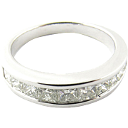 Vintage 14 Karat White Gold Princess Cut Diamond Wedding Band Size 6.25