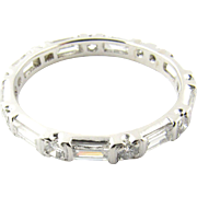 Vintage Platinum Diamond Wedding Band Size 9.25